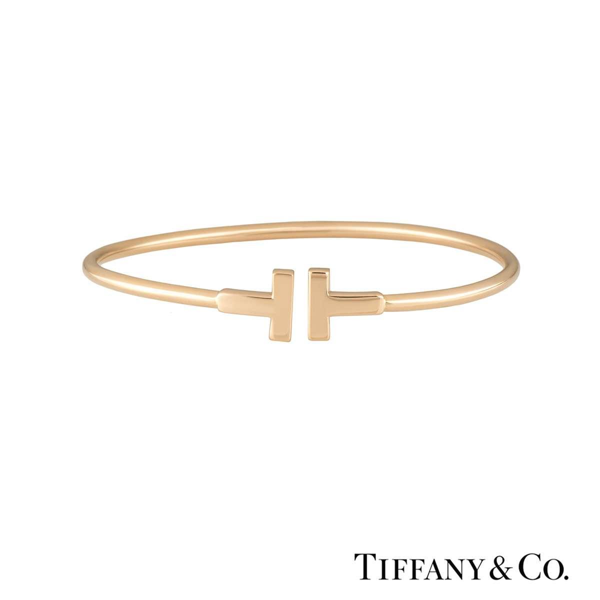 Tiffany & Co. Rose Gold Tiffany T Narrow Wire Bracelet